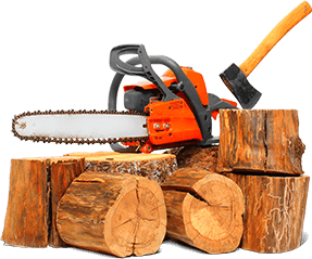 Wood with chainsaw and axe